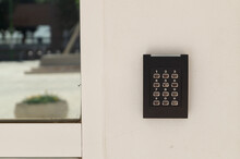 Access Control System To Enter A Building. Buttons To Dial The Secret Code And Access The Room Or Office. Place Restricted To Authorized Personnel.
