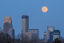 Full Moon Over Downtown Minneapolis Just After Dark.