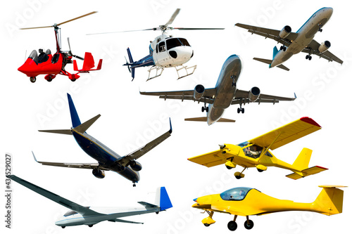 Fotomural Collection of powered flying vehicles isolated on white background
