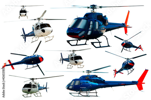 Cuadros en Lienzo Collection of helicopters flying isolated on white background