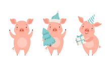 Cute Pig Characters Set, Funny Farm Animal Celebrating Holidays Cartoon Vector Illustration