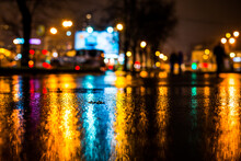 Rainy Night In The Big City, City Alley With Trees Near The Loaded Avenue. View From The Level Of Asphalt