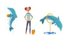 Clown Training Dolphins In Dolphinarium Or Oceanarium Cartoon Vector Illustration