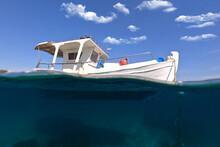 Underwater Split Photo Of Traditional Fishing Boat Anchored In Deep Blue Sea Of Aegean Greek Island