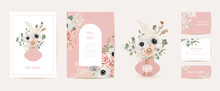 Watercolor Anemone, Pampas Grass, Rose Floral Wedding Card. Vector Summer Flowers Invitation