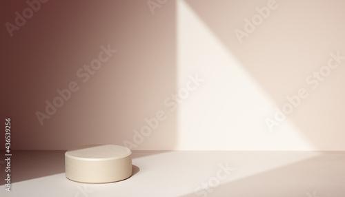Obraz na plátně Minimal background window light and geometric shadow, abstract simple studio sce