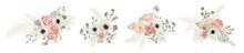 Watercolor Pastel Floral Bouquets Designs. Vector Flowers, Dried Anemone, Wedding Roses, Pampas Grass