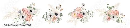 Fotografiet Watercolor pastel floral bouquets Designs