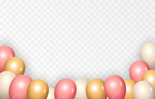 Background With Festive Balloons. Vector Balloons, Holiday, Birthday. Balloons PNG.