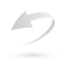 Loop Circle Arrow Icon. Abstract Symbol Of Refresh, Reload Or Recycle. Simple Grey 3D Vector Sign With Dropped Shadow.