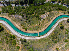 Water Channel Supply Of Mornos Artificial Lake In Delphi Greece. The Mornos Canal Is The Main Source Of Water For Athens