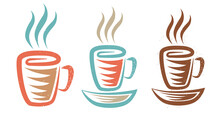 Vector Illustration Of A Cup With Coffee Or Tea In Retro Style. Vintage Logo Of Hot Drink For Cafe.