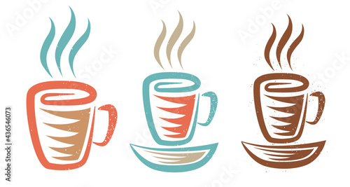 Fotografering Vector illustration of a cup with coffee or tea in retro style