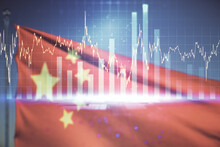 Multi Exposure Of Virtual Abstract Financial Graph Interface On Chinese Flag And Sunset Sky Background, Financial And Trading Concept