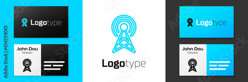 Blue line Antenna icon isolated on white background Fototapet