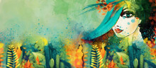 Woman In The Secret Garden. Watercolor Decorative Background. Design Element