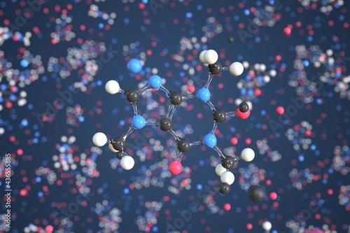 Billede på lærred Caffeine molecule