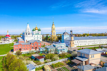 Aerial Drone Cityscape View Of Churches And Other Orthodox Architecture In The Old City Center Of Kolomna, Moscow Region, Russia. Assumption Cathedral, Tikhvin Church In Kremlin.