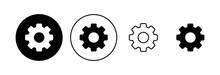 Setting Icon Set. Cog Settings Icon Symbol