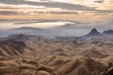 Rolling Hills And Fog South Of The Chisos Mountians