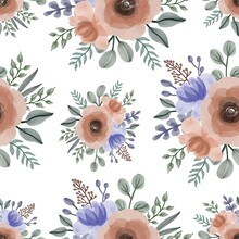 Seamless Pattern Of Orange And Purple Bouquet For Fabric Design