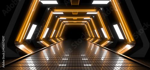 Fényképezés Sci Fy neon lamps in a dark corridor