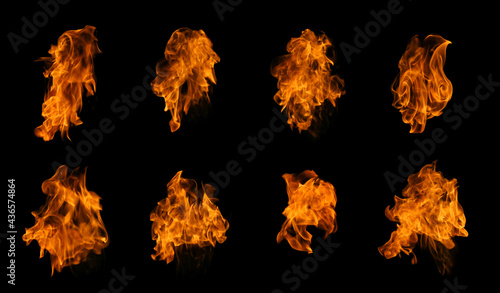 Canvas Print Fire collection set of flame burning isolated on dark background for graphic des