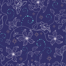 Vector Nocturnal Celestial Seamless Pattern With Line Clematis Flowers On Dark Purple Starry Night Sky With Magic Spells Curves. Perfect For Girls Childish Textile Design.
