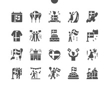 Sveriges Nationaldag 6 June. People Celebrate. Calendar. Sixth Of June. Holiday. Flags On Houses. National Sweden Tradition Day. Vector Solid Icons. Simple Pictogram
