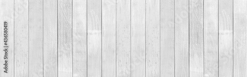 Obraz na plátně Panorama of Old white vintage wooden wall pattern and seamless background