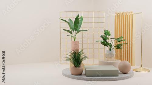 Fotografie, Obraz 3D ELEGANT ABSTRACT INTERIOR WITH TROPHICAL PLANT LANDSCAPE