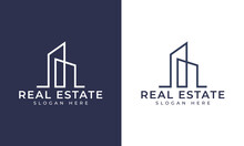 Creative Building Structure Logo Real Estate, Line Buildings Logo, Building Properties Logo Design Vector