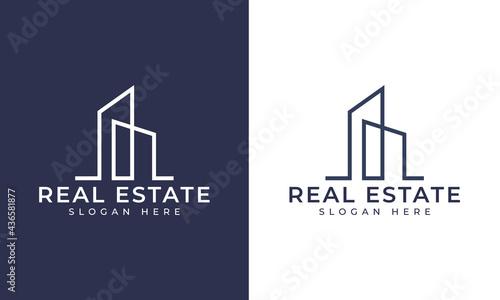Fotografija Creative building structure logo real estate, Line buildings logo, building prop