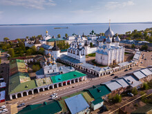 Aerial View Of Architectural Complex Of Rostov Kremlin Located On Board Of Lake Nero In Russian City Of Rostov