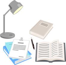 開いた本やファイル、研究