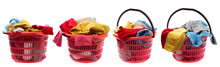 Set Of Colorful Clothes In A Red Laundry Basket Isolated On White Background.