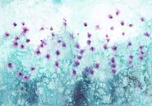 Softness Nature Floral Landscape. Abstract Art Meadow Landscape. Field With Abstract Purple Flowers On Spotted Blue Background. Watercolor Painting On Textured Paper.
