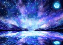 幻想的な夜の海に浮かぶ満月のイラスト