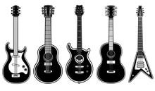 Set Of Illustrations Of Guitar Isolated On White Background. Design Element For Logo, Label, Sign, Emblem. Vector Illustration
