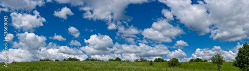Fotografía Ein mit Schönwetterwolken übersähter Himmel mit einer hügeligen Wiese im Vorderg