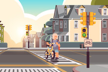 Schoolgirl With Bicycle Crossing Road On Crosswalk Road Safety Concept Horizontal Cityscape Background