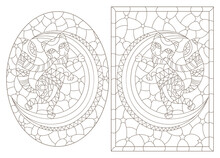 A Set Of Illustrations In The Style Of Stained Glass With Cats On The Moon Against A Starry Sky, Dark Outlines On A White Background