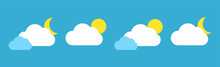 Set With Different Weather Icons. Icons Of Moon And Cloud On A Blue Background. Cloud Vector Logo.