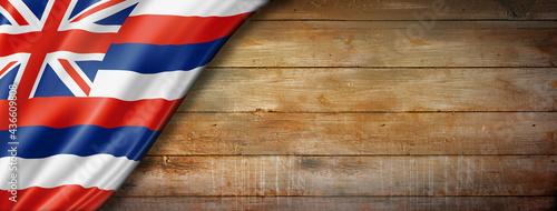 Hawaii flag on old wood wall banner, USA