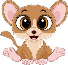 Cute Little Mouse Lemur Cartoon Sitting