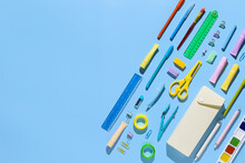 Back To School. School Supplies And Stationery On Blue Background. Education And Studingc Oncept. Banner. Top View, Flat Lay