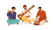 Indian Street Musicians Playing Traditional Folk Music On National Instruments. Men In Ethnic Clothes Performing On Sitar, Bansuri And Drum. Flat Vector Illustration Isolated On White Background