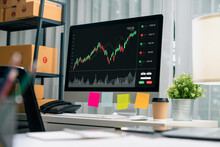 Stock Exchange Market Concept, Computer Show Graphs Analysis Candle Line On Table In Office, Diagrams On Screen.