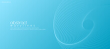 Abstract Soft Blue Background With Wavy Lines For Banner Design Template. Vector