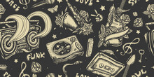 Retro Music Seamless Pattern. Musical Instruments. Street Lifestyle. Old School Tattoo Style. Dj Vinyl, Boom Box, Rock Guitar And Saxophone. Funny Background. Jazz, Funk, Disco And Soul Concept
